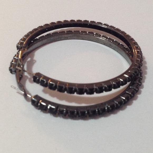 "Jewelry - Charcoal Tone Black Beaded Hoop Earrings 2 1/2"""